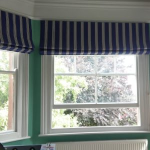 Ian Mankin's Oxford Stripe Navy for 3 roman blinds